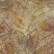 Moda Color Daze Batiks by Laundry Basket Quilts - 4486 - Terracotta and Mustard Yellow Leaf Print Batik - 42240 24 - Cotton Fabric